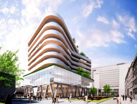 Eerste portiek van nieuw gebouw van De Persgroep onthuld in Antwerpen